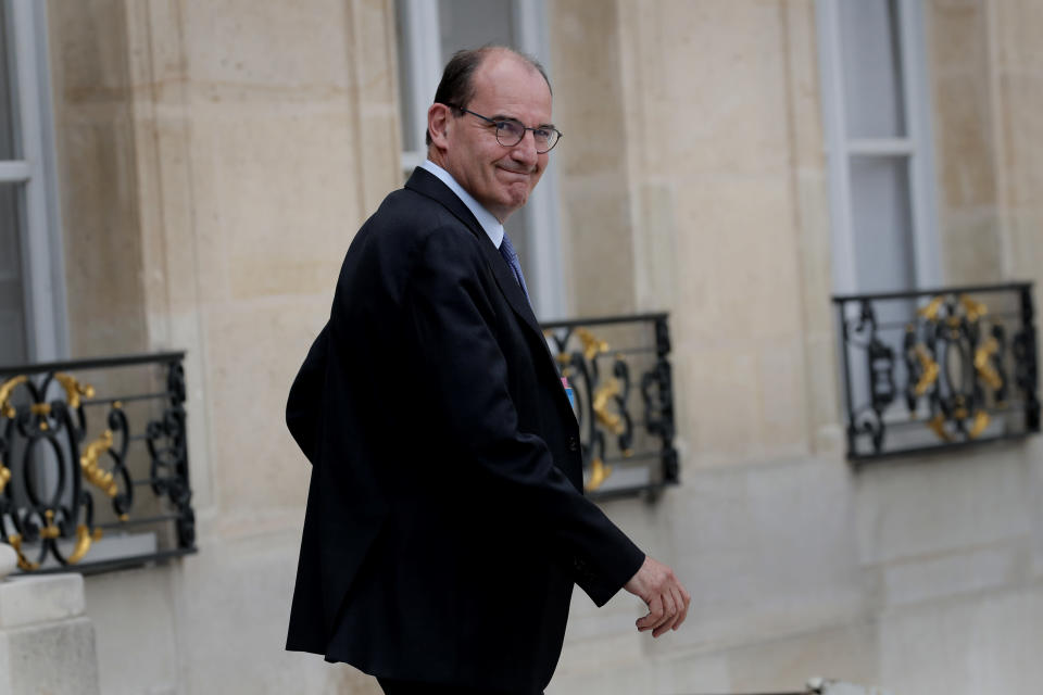 France's Prime Minister Jean Castex leaves after the weekly cabinet meeting at the Elysee Palace in Paris, Wednesday, July 15, 2020. (AP Photo/Christophe Ena)