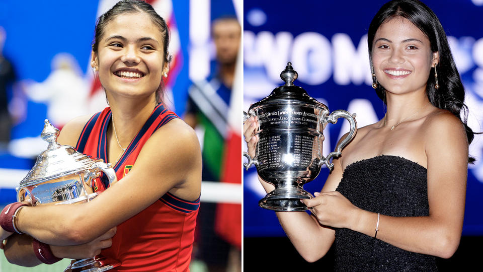 Emma Raducanu, pictured here celebrating with the trophy after the US Open final.