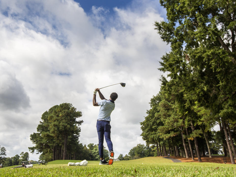 North Carolina A&T's J.R. Smith drives from the sixth tee during the second round of the Phoenix Invitational golf tournament in Burlington, N.C., Tuesday, Oct. 12, 2021. Smith spent 16 years playing in the NBA, winning two world championships. (Woody Marshall/News & Record via AP)