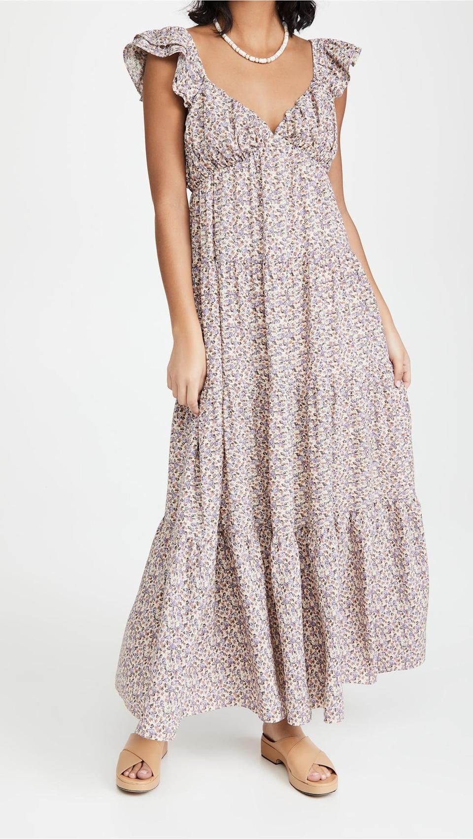 <p>The print on this <span>English Factory Floral Ruffle Sleeve Maxi Dress</span> ($110) is adorable.</p>