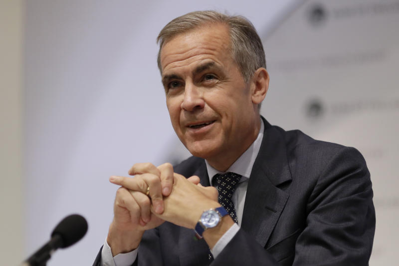 Governor of the Bank of England Mark Carney during the Finance Stability Report Press Conference at the Bank of England in the City of London.