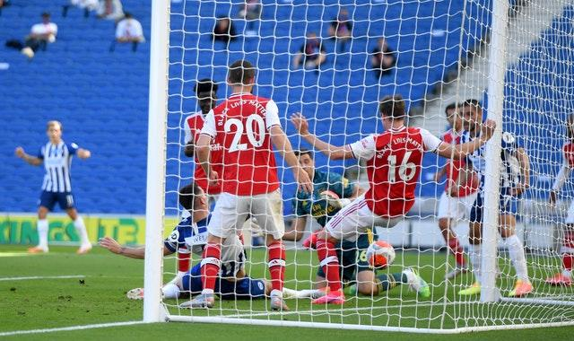 Lewis Dunk scrambled Brighton's equaliser over the line.