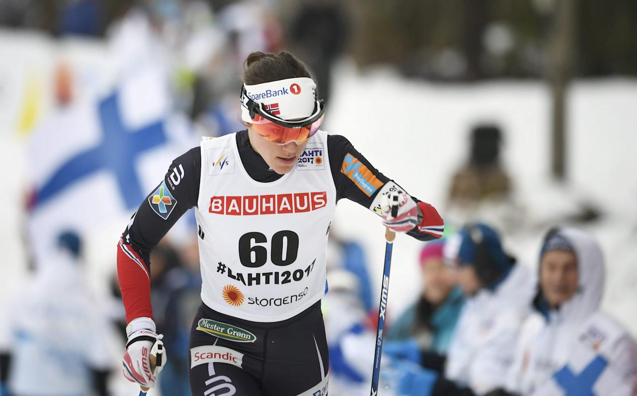 Heidi Weng of Norway participates during the Women's 10km Individual Classic of the FIS Nordic Ski World Championships in Lahti, Finland February 28, 2017. Lehtikuva/Markku Ulander/via REUTERS ATTENTION EDITORS - THIS IMAGE WAS PROVIDED BY A THIRD PARTY. FOR EDITORIAL USE ONLY. NO THIRD PARTY SALES. NOT FOR USE BY REUTERS THIRD PARTY DISTRIBUTORS. FINLAND OUT. NO COMMERCIAL OR EDITORIAL SALES IN FINLAND.