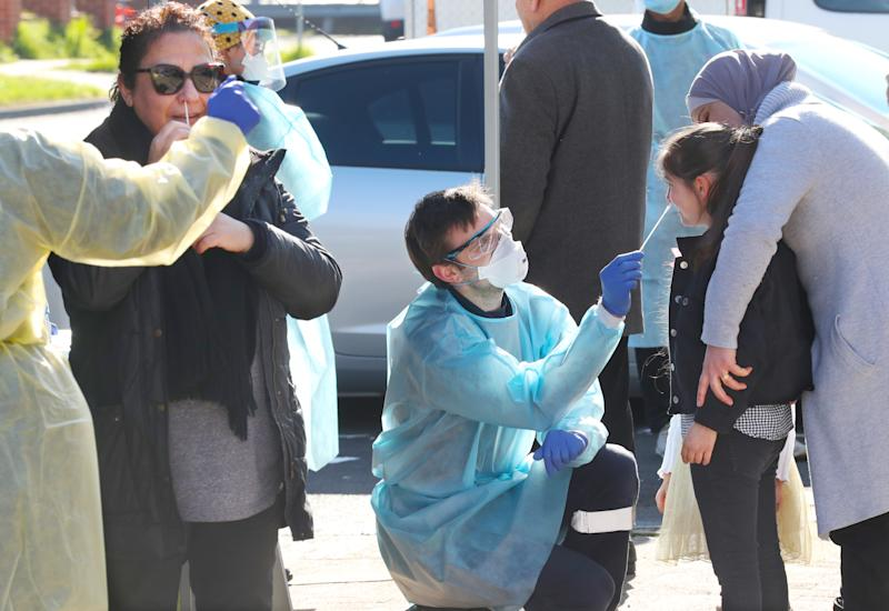 Covid-19 testing is conducted in Broadmeadows on Sunday. Source: AAP
