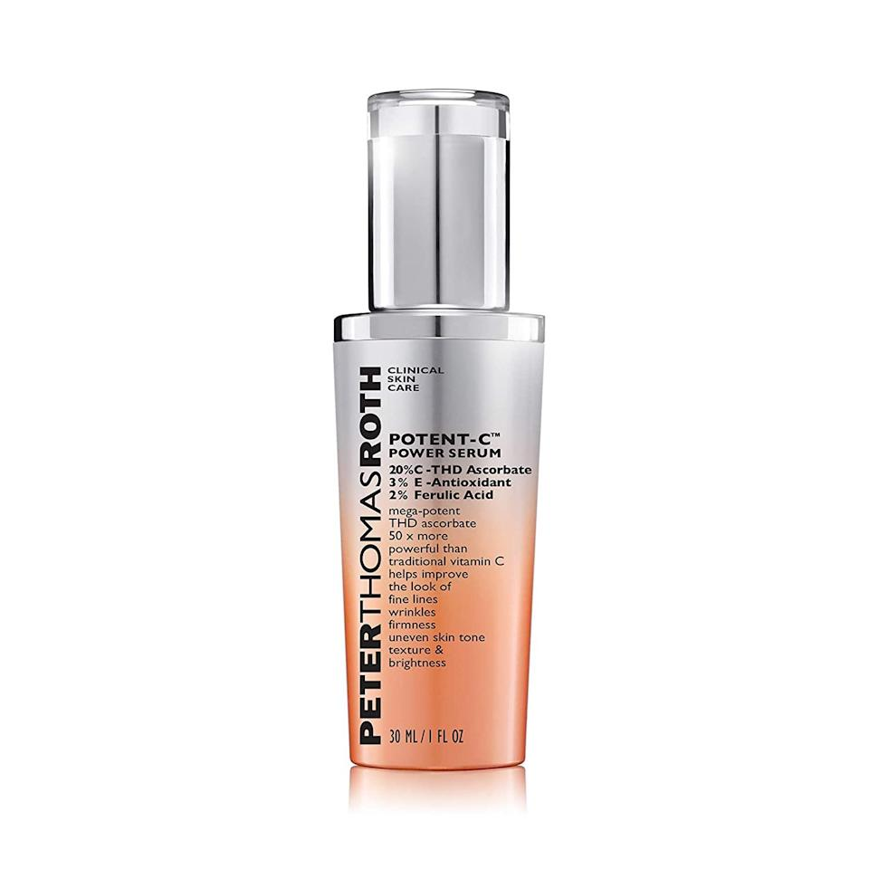 "<p>You'll be hard-pressed to find a <a href=""https://www.allure.com/gallery/get-brighter-skin-vitamin-c?mbid=synd_yahoo_rss"" rel=""nofollow noopener"" target=""_blank"" data-ylk=""slk:vitamin C serum"" class=""link rapid-noclick-resp"">vitamin C serum</a> that works harder than Peter Thomas Roth's Potent-C Power Serum. It contains 20 percent THD ascorbate, which is a super-stable version of vitamin C, as well as two antioxidants <a href=""https://www.allure.com/story/vitamin-e-skin-care?mbid=synd_yahoo_rss"" rel=""nofollow noopener"" target=""_blank"" data-ylk=""slk:vitamin E"" class=""link rapid-noclick-resp"">vitamin E</a> and <a href=""https://www.allure.com/gallery/what-is-ferulic-acid?mbid=synd_yahoo_rss"" rel=""nofollow noopener"" target=""_blank"" data-ylk=""slk:ferulic acid"" class=""link rapid-noclick-resp"">ferulic acid</a>, to boost the effectiveness of the serum and allow it to absorb into skin better. This is all to say that this serum zones in on fine lines, uneven skin tone, and overall dullness in just a few pumps.</p> <p><strong>$98</strong> (<a href=""https://www.amazon.com/Peter-Thomas-Roth-Potent-Power/dp/B00YP4I93C"" rel=""nofollow noopener"" target=""_blank"" data-ylk=""slk:Shop Now"" class=""link rapid-noclick-resp"">Shop Now</a>)</p>"