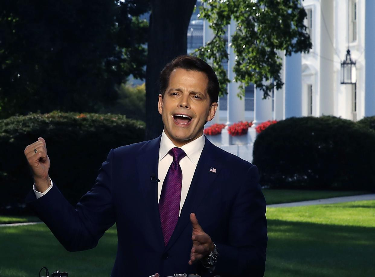 Scaramucci speaksto a morning television show, from the north lawn of the White House on July 26, 2017.