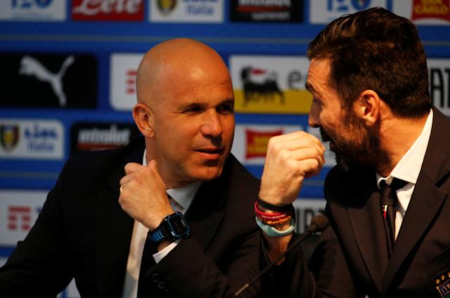 Soccer Football - Italy Press Conference - Etihad Stadium, Manchester, Britain - March 22, 2018 Italy interim coach Luigi Di Biagio and Gianluigi Buffon during the press conference Action Images via Reuters/Craig Brough
