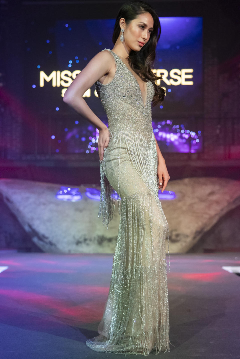 Bernadette Wu-Ong competing in the evening gown segment during the 2019 Miss Universe Singapore at Zouk.