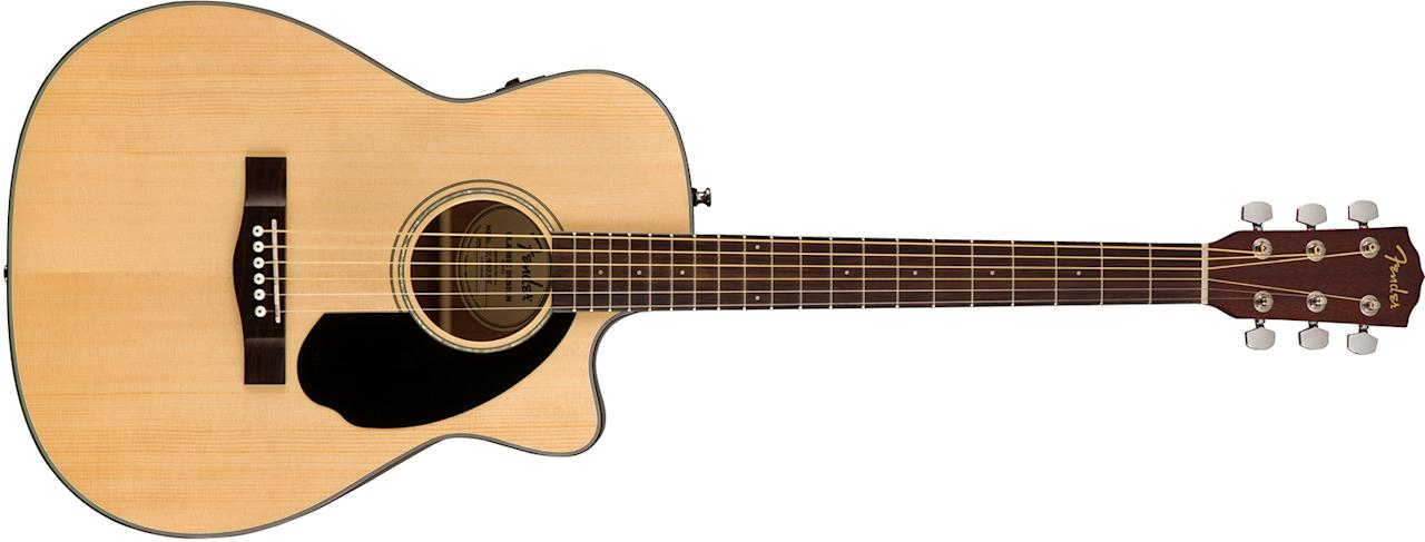 """<p>Many, if not most, guys wish they had some guitar chops. Fact is, your favorite dad is only three chords and a little practice away from a quality pastime, if not actual campfire glory. Fender's CD-60SCE features a built-in tuner and pickup, an easy-play rosewood fingerboard for the lightly callused beginning to intermediate player, and cutaway design for advanced shredding. <a rel=""""nofollow"""" href=""""http://shop.fender.com/en-US/search?q=CD-60SCE"""">$299</a> </p>"""