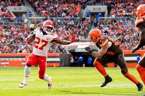 <span>Kareem Hunt scored three touchdowns to help keep the Chiefs in pole position</span> <span>Credit: Scott R. Galvin/USA Today </span>