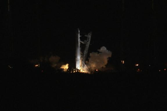 SpaceX's first Falcon 9 rocket launching toward the International Space Station ignites its nine main engines briefly in this NASA photo shortly before aborting the launch try on May 19, 2012 due to an unexpected engine sensor reading. The Falc