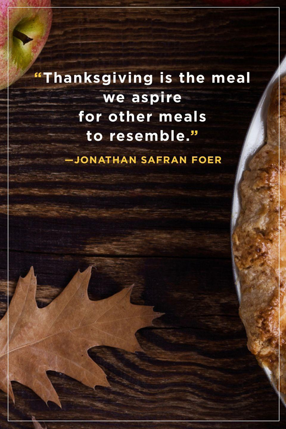 """<p>""""Thanksgiving is the meal we aspire for other meals to resemble.""""</p>"""