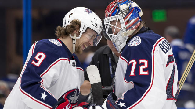 Panarin, left, and Bobrovsky could reunite in Florida. (Photo by Andrew Bershaw/Icon Sportswire via Getty Images)