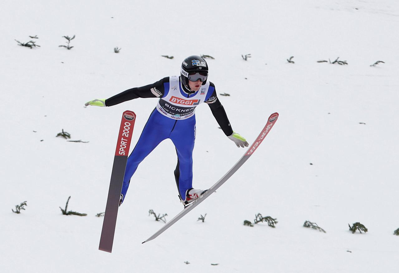 Kevin Bickner from USA in the air during the first round of FIS Ski Jumping World Cup, Men's HS225 in Vikersund, 19 March, 2017. NTB Scanpix/Terje Bendiksby/via REUTERS ATTENTION EDITORS - THIS IMAGE WAS PROVIDED BY A THIRD PARTY. EDITORIAL USE ONLY. NORWAY OUT.