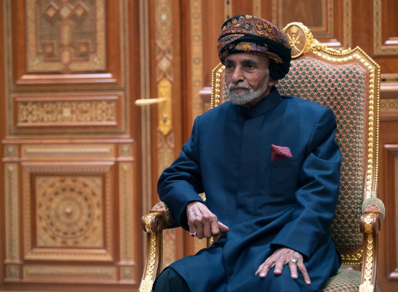 Sultan of Oman Qaboos bin Said al-Said sits during a meeting with the US secretary of state at the Beit Al Baraka Royal Palace in Muscat on January 14, 2019. (Photo by ANDREW CABALLERO-REYNOLDS / POOL / AFP) (Photo credit should read ANDREW CABALLERO-REYNOLDS/AFP/Getty Images)