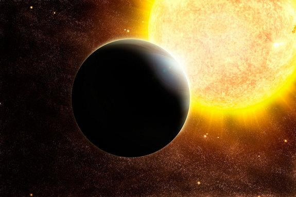 Planets close in to their stars, such as this Jupiter-sized one in an artist's illustration, are more likely to be detected.