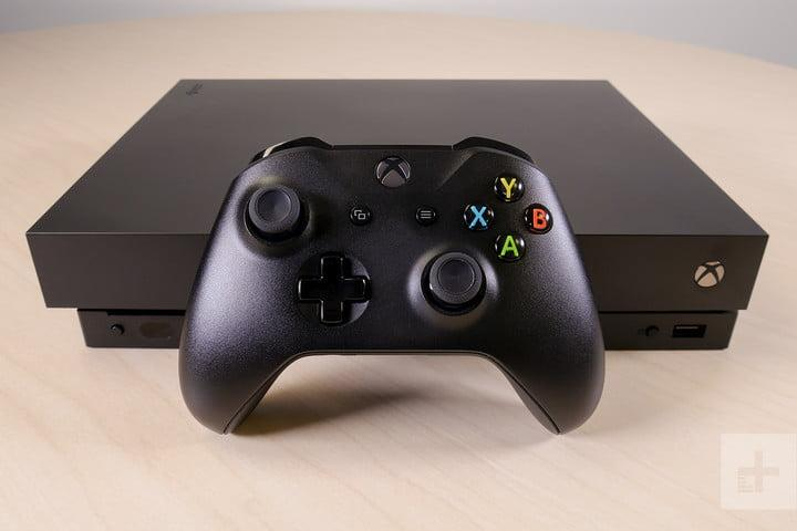 Xbox One X review controller in front