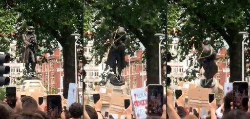 Sequence of pictures showing demonstrators pulling down the bronze monument to Edward Colston in Bristol and threw it into the harbour