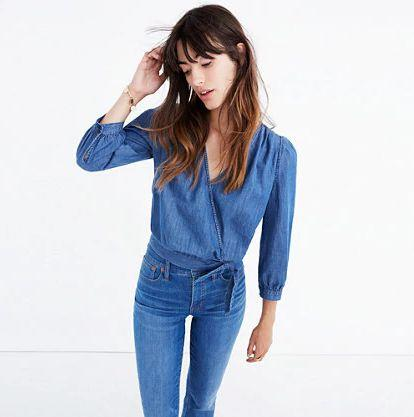 "Get it <a href=""https://www.madewell.com/madewell_category/DENIMBAR/moredenim/PRD~G7461/G7461.jsp?Nbrd=M&Nloc=en_US&Nrpp=48&Npge=1&Ntrm=wrap+top&isSaleItem=false&color_name=DESCANSO%20WASH&isFromSearch=true&isNewSearch=true&hash=row0"" target=""_blank"">here</a>."