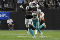 Las Vegas Raiders wide receiver Bryan Edwards (89) makes a catch against the Miami Dolphins during overtime of an NFL football game, Sunday, Sept. 26, 2021, in Las Vegas. (AP Photo/David Becker)