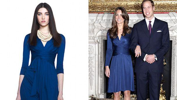 The electric blue Issa dress that Kate wore in 2010 for the announcement of her engagement to Prince William sold out within hours of her appearance in it. The dress retailed for around $800. The similar dress from the Banana Republic Issa London Collection retails for $130.00