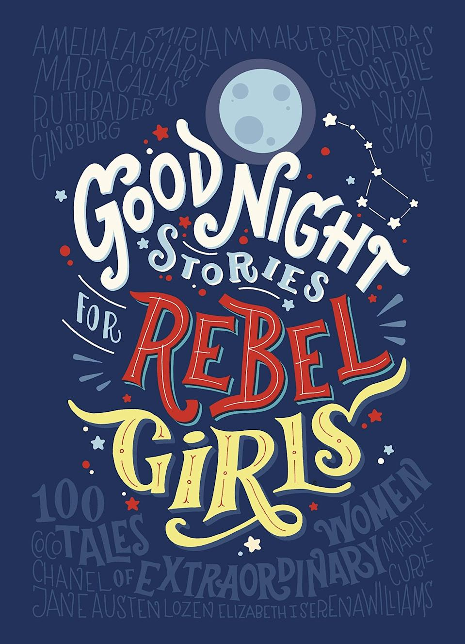 """<p>This """"most funded book in crowd funding history,"""" <strong><span>Good Night Stories For Rebel Girls</span></strong> ($25) features short, page-long bios on 100 smart, successful, gritty women from around the world, including Freda Kahlo, Jane Goodall, and Cleopatra. The follow-up <strong><span>Goodnight Stories For Rebel Girls 2</span></strong> ($21) features 100 more bedtime stories about extraordinary women, including Nefertiti and Beyoncé.</p>"""