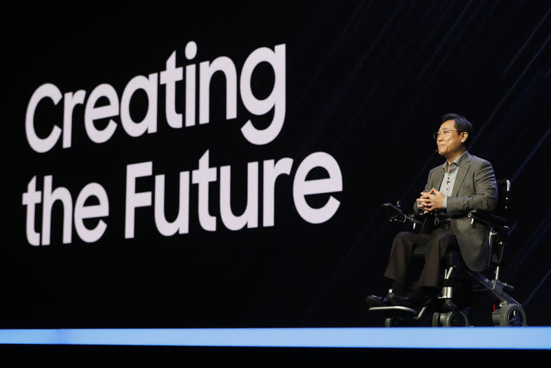 Eui-Suk Chung, Samsung Electronics executive vice-president of Software and Artificial Intelligence, speaks during the Samsung Developers Conference in San Francisco