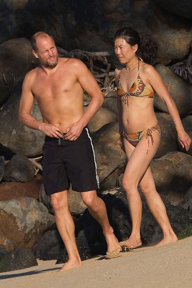 """Woody and his wife prepare for a dip. Here's a fun bit of trivia: Laura was Woody's former assistant. She was hired to help him type a screenplay. Starsurf/<a href=""""http://www.splashnewsonline.com"""" target=""""new"""">Splash News</a> - January 6, 2008"""