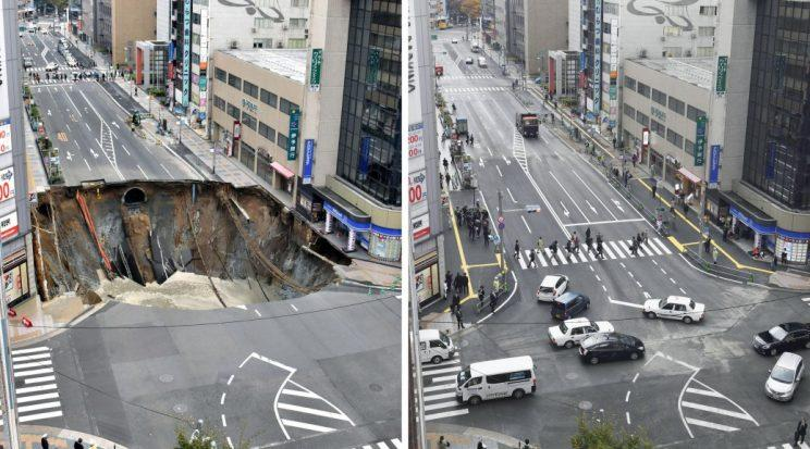 Fukuoka's sinkhole filled in after just two days [AP]