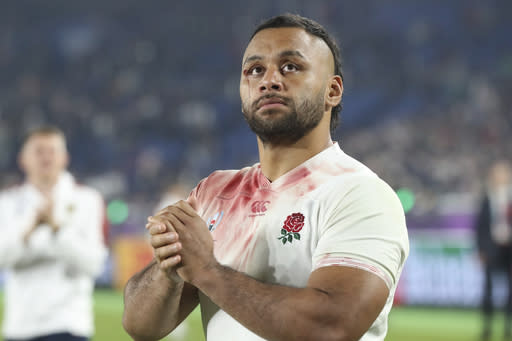 FILE - In this Saturday, Nov. 2, 2019 file photo, England's Billy Vunipola reacts after their Rugby World Cup final loss to South Africa at International Yokohama Stadium in Yokohama, Japan. There are more questions than answers in a massive rugby scandal that on Saturday, Jan. 18, 2020 saw English and European champion Saracens get relegated for breaching salary-cap regulations. They own some of the most high-profile players in the sport, like England captain Owen Farrell and World Player of the Year nominees Maro Itoje and Billy Vunipola (AP Photo/Eugene Hoshiko, file)