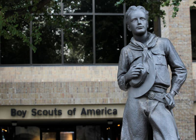 FILE PHOTO: Scout statue seen at the Boy Scouts of America headquarters in Irving