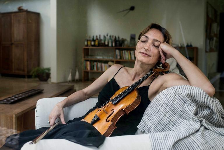This picture taken on May 30, 2013, shows a portrait of Italian violinist Sara Michieletto in Jakarta