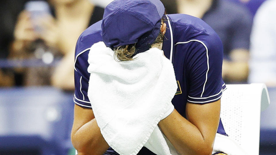 Holger Rune, pictured here distraught after his bid to beat Novak Djokovic ended in heartbreak.