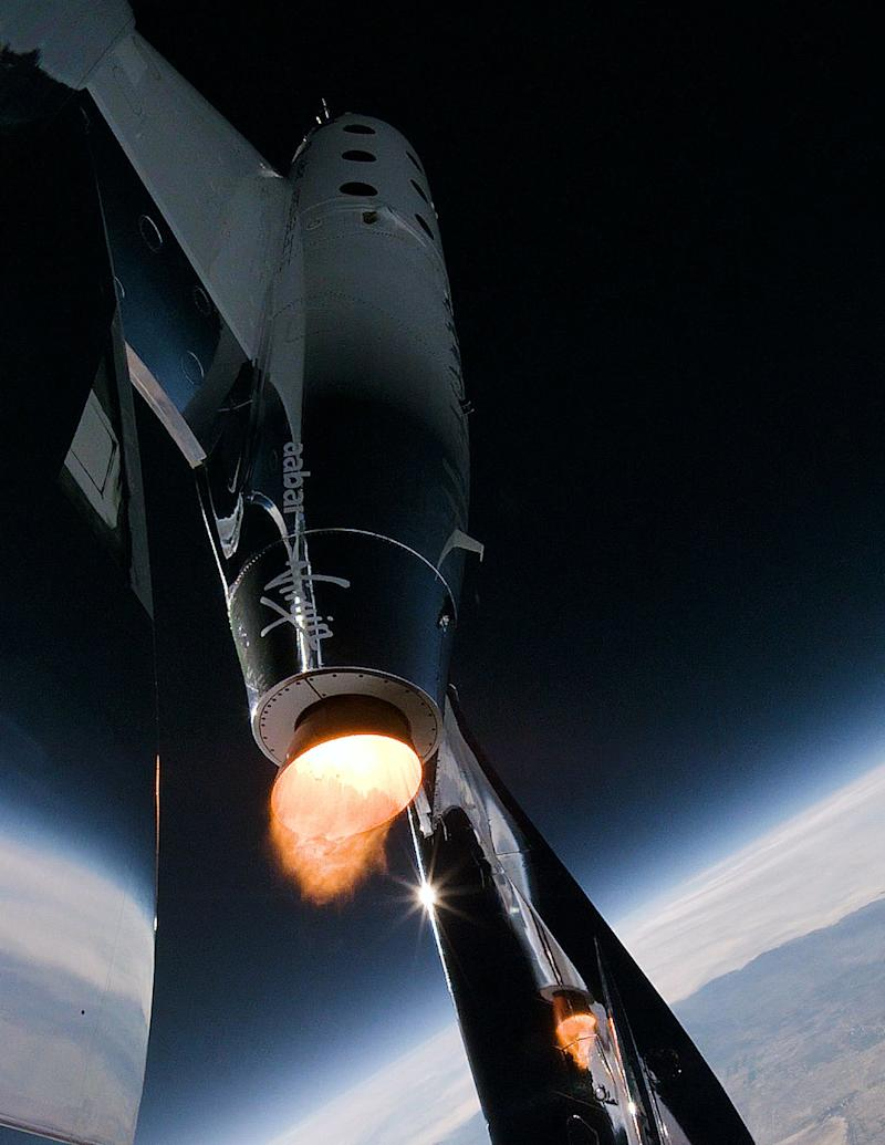 Virgin Galactic's SpaceShipTwo uses a controllable rocket motor to blast it to 50 miles above the Earth in about 60 seconds, subjecting paying customers a pressure that is roughly three times the gravity felt on Earth.