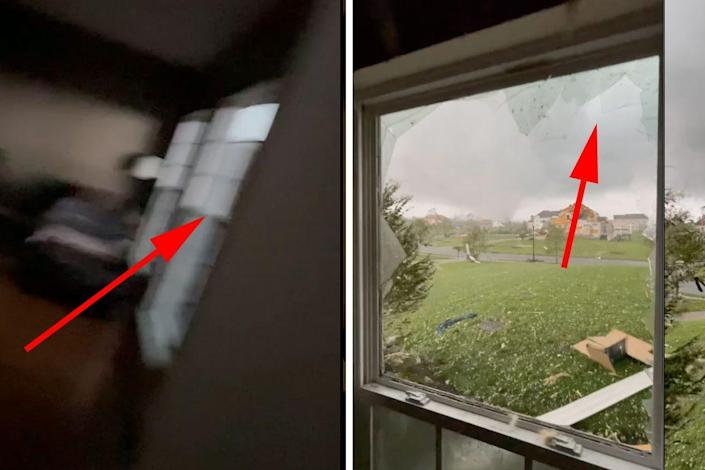windows before and after tornado side by side
