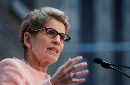 Premier of Ontario Kathleen Wynne speaks during an announcement from healthcare group Bayer, and venture capital firm Versant Ventures, that will have them partake in a $225 million joint venture to create a new stem cell therapy technology company, BlueRock Therapeutics, in Toronto, December 12, 2016. REUTERS/Mark Blinch