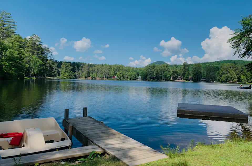 """<h2>Lake George, New York</h2><br><strong>Location</strong>: Lake Luzerne, New York<br><strong>Sleeps</strong>: 6<br><strong>Price Per Night</strong>: <a href=""""https://airbnb.pvxt.net/QOjR43"""" rel=""""nofollow noopener"""" target=""""_blank"""" data-ylk=""""slk:$189"""" class=""""link rapid-noclick-resp"""">$189</a><br><br>""""Two-bedroom cottage situated on lakefront property on Lake Vanare, 5 minutes from Lake George. Features a king-sized bed in bedroom 1, a double-sized bed and twin-sized bed in bedroom 2, a fully-equipped kitchen, living room, bathroom, and front porch. All amenities of the property are for guests to enjoy free of charge. ACCESS TO BOATS, BEACH, AND MORE!""""<br><br><h3>Book <a href=""""https://airbnb.pvxt.net/QOjR43"""" rel=""""nofollow noopener"""" target=""""_blank"""" data-ylk=""""slk:Two Bedroom Lakeview Cottage"""" class=""""link rapid-noclick-resp"""">Two Bedroom Lakeview Cottage<br></a></h3><br><br>"""