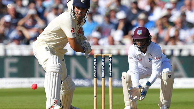 <p><span><em>August 19 (CRICKETNMORE) - Alastair Cook's double century put England in a commanding position against the West Indies on the second day of the inaugural day/night Test at Edgbaston on Friday.</em></span><br /> <br /> West Indies were 44 for one in reply to England's imposing 514 for eight declared, a deficit of 470 runs, when rain ended the second day's play early in the third session. Cook's scored his fourth Test double century (243) for England.</p>