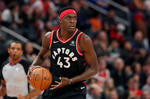 Toronto Raptors forward Pascal Siakam looks to pass during the first half of an NBA basketball game, Sunday, March 17, 2019, in Detroit. (AP Photo/Carlos Osorio)