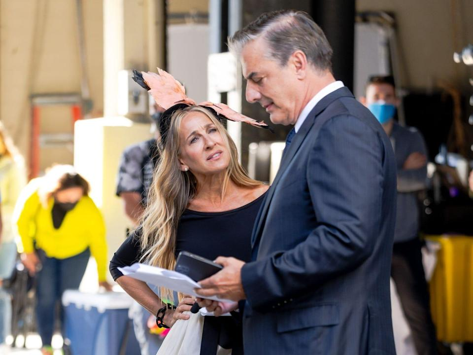 """Sarah Jessica Parker and Chris Noth seen filming """"And Just Like That..."""" in New York City"""