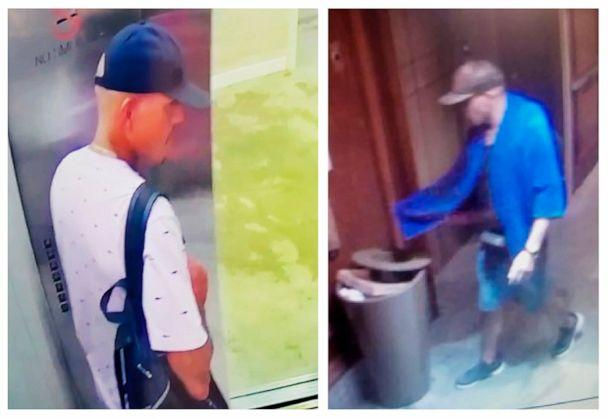 PHOTO: This combination of images made from surveillance video shows a man seen at Alohilani hotel on Sunday, Aug. 4, 2019, left, and at Hilton Hawaiian Grand Waikikian on Tuesday, Aug. 6, near Waikiki Beach in Hawaii. (Honolulu Police Department via AP)