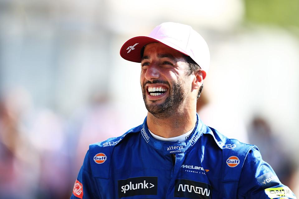 MONZA, ITALY - SEPTEMBER 12: Race winner Daniel Ricciardo of Australia driving the (3) McLaren F1 Team MCL35M Mercedes celebrates in parc ferme during the F1 Grand Prix of Italy at Autodromo di Monza on September 12, 2021 in Monza, Italy. (Photo by Bryn Lennon/Getty Images)