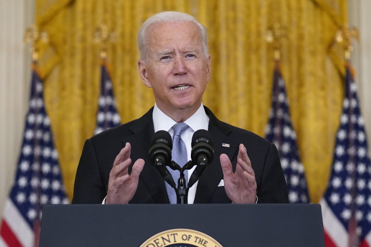 President Joe Biden speaks about Afghanistan from the East Room of the White House, Monday, Aug. 16, 2021, in Washington. (Evan Vucci/AP)