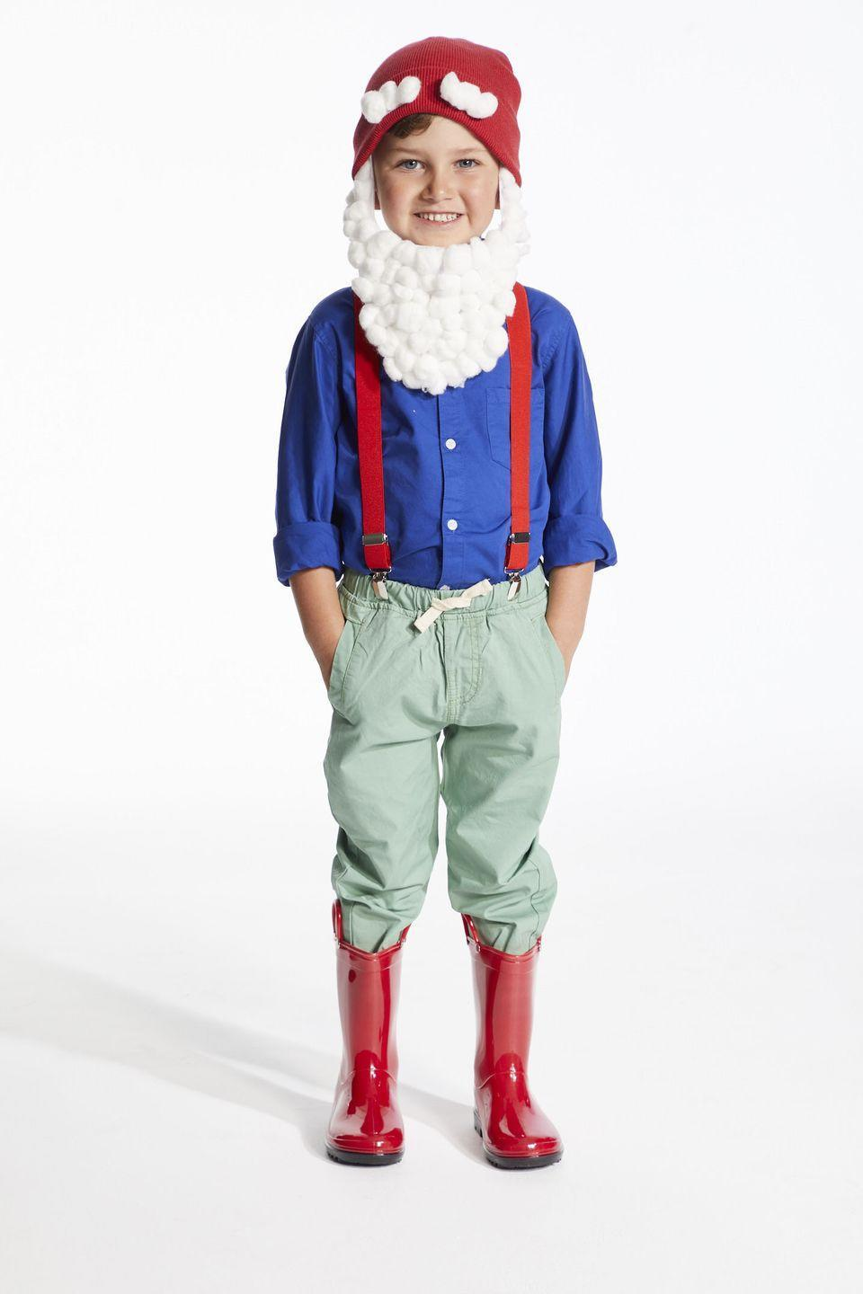 <p>Gnome is where the heart is. Have fun with this easy to make DIY costume. </p><p><strong>Step 1</strong>: Cut out a beard shape out of the white felt with long sideburn sides (make sure you make the beard according to the costume wearers face size).</p><p><strong>Step 2</strong>: Using the glue gun attach velcro to the top of each sideburn.</p><p><strong>Step 3</strong>: Cover the remaining felt with cotton balls attaching them with small dots of hot glue.</p><p><strong>Step 4</strong>: Cut out two eyebrow shapes out of the white felt.</p><p><strong>Step 5</strong>: Hot glue velcro onto the back of the eyebrows.</p><p><strong>Step 6</strong>: Cover the front with cotton balls attaching them with small dots of hot glue.</p><p><strong>Step 7</strong>: Attach the velcro eyebrows with hot glue to the fold of the beanie so they are on.</p><p><strong>Step 8</strong>: Attach the velcro on the sideburns to the inside of the hat when the hat is on to ensure the right placement. Detach the velcro, while keeping one side attached to the hat and take the hat off. Using the hot glue reinforce the velcro to make sure it is securely on. Re-attach the velcro attached to the beard. </p>