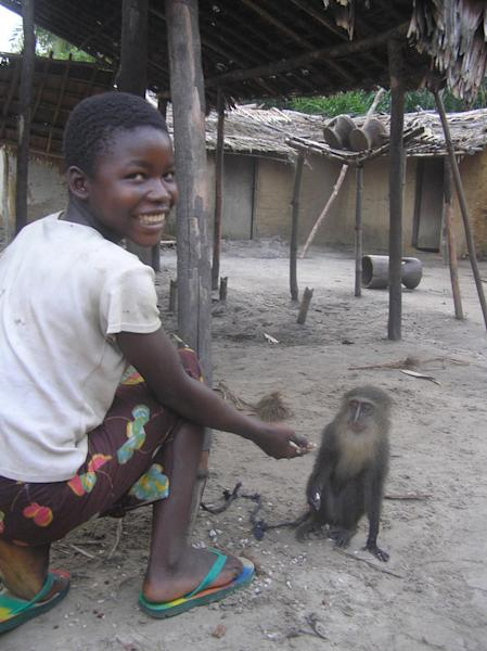 The picture that started it all: Georgette with her monkey friend.