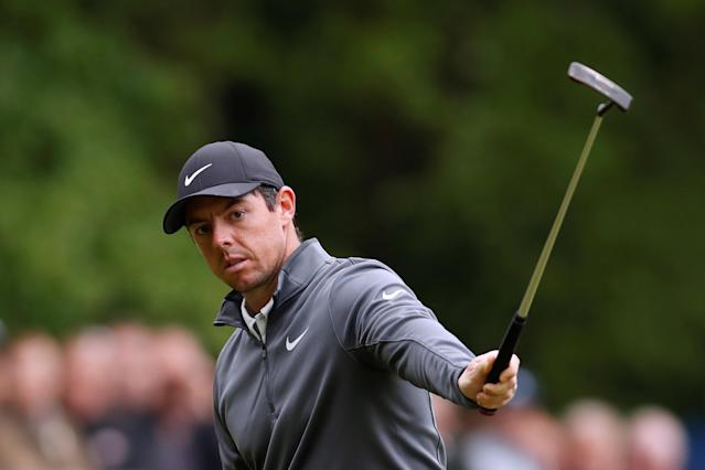 Golf - European Tour - BMW PGA Championship - Wentworth Club, Virginia Water, Britain - May 25, 2018 Northern Ireland's Rory McIlroy celebrates a birdie on the 15th during the second round Action Images via Reuters/Paul Childs