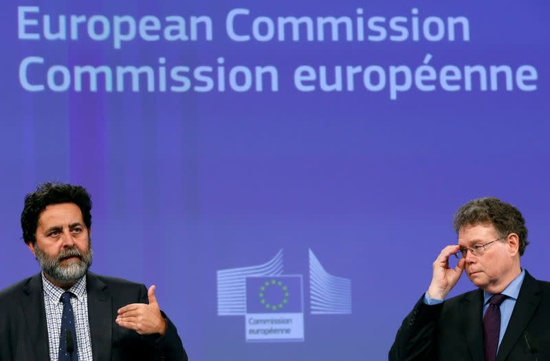 EU chief negotiator Garcia Bercero and U.S. chief negotiator Mullaney address a joint news conference after the 14th Round of the TTIP in Brussels