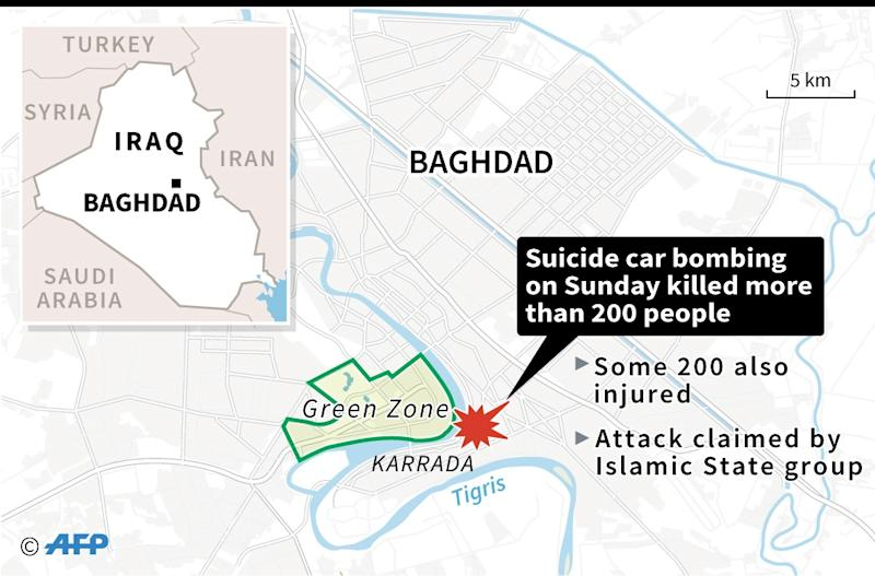 Map of central Baghdad locating Sunday's deadly suicide car bombing in the Karrada district of the city (AFP Photo/-)