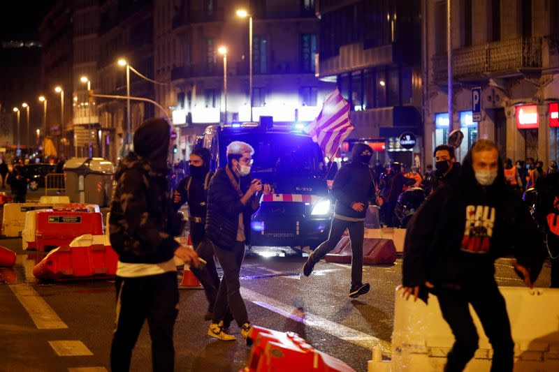 Protest against the arrest of Catalan rapper Pablo Hasel in Barcelona