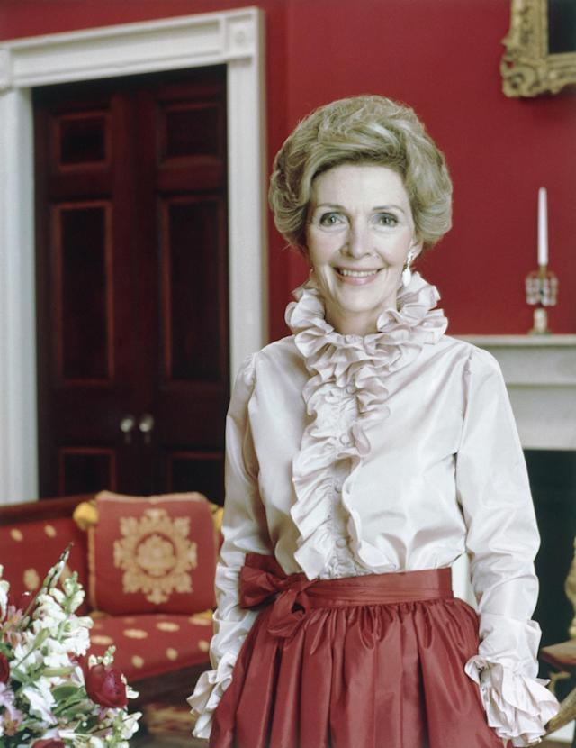 "<p>Nancy Reagan, the First Lady of the United States from 1981 to 1989, died of heart failure on March 6. She was 94. Reagan was known for her influence on her husband, President Ronald Reagan, and her ""Just Say No"" campaign against recreational drug use. — (Pictured) An official portrait of Mrs. Nancy Reagan, wife of the president of the United States, in Washington, D.C. in 1981. (AP Photo/White House) </p>"